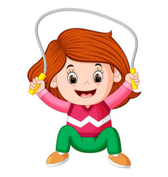 Happy girl humping exercising with skipping rope vector