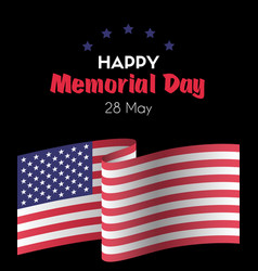happy memorial day 26 may greeting card vector image