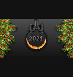 happy new year 2021 dark card with pine branches vector image