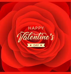Happy valentines day message red rose vector