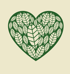 Heart with leafs plant vector