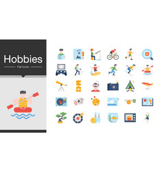 hobbies icons flat design icon set most vector image