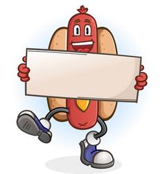 hot dog cartoon character holding a sign vector image