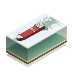 Icebreaker ship afloat isometric model vector