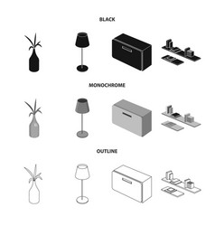 isolated object of bedroom and room sign vector image