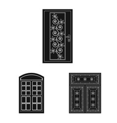isolated object of door and front icon set of vector image