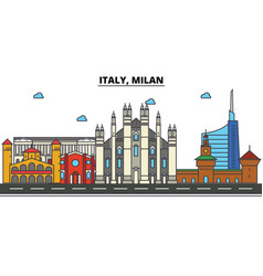 italy milan city skyline architecture buildings vector image