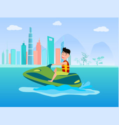 Jet ski summer activity at sea man in life-jacket vector