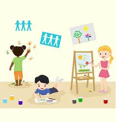 Kids in kindergarden draw and paint in art class vector