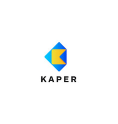 letter k with paper logo design concept vector image