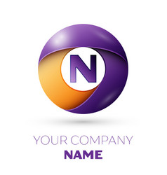 Letter n logo symbol in the colorful circle vector