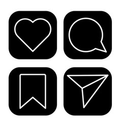 Like comment share and save icons vector