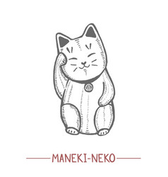 maneki neko cat doll in hand drawn style vector image