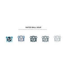 Matzo ball soup icon in different style two vector