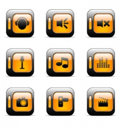 media icons set vector image vector image