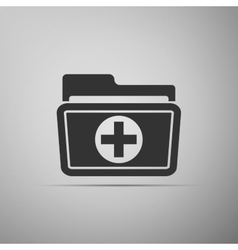 Medical health record folder icon for healthcare vector
