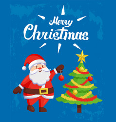 merry christmas poster with santa claus greetings vector image