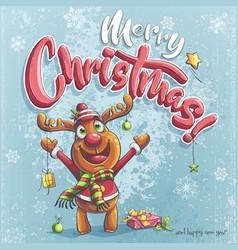 merry christmas with christmas vector image