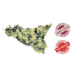 Military camouflage collage of map of sicilia vector