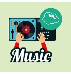 Music design dj icon White background vector image
