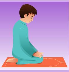 Muslim man praying vector