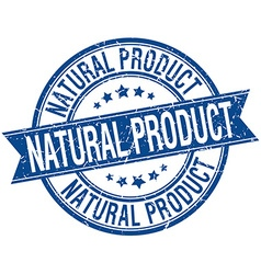 Natural product grunge retro blue isolated ribbon vector