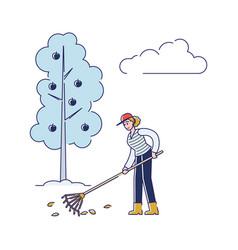 People gardening woman is raking leaves take vector