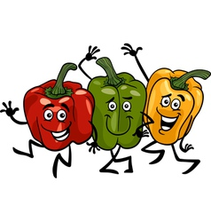 peppers vegetables group cartoon vector image