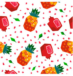pineapple and pomegranate seamless pattern vector image