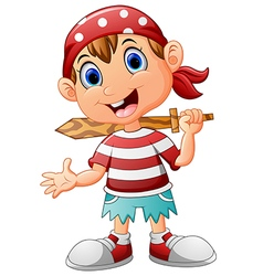 Pirate kid holding a wooden sword vector