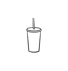 plastic cup of soda pop hand drawn sketch icon vector image