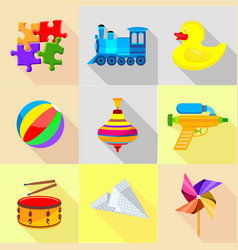 Plaything icons set cartoon style vector