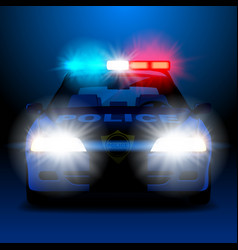 Police car in night with lights in frontal view vector