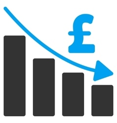 Pound Recession Bar Chart Flat Icon Symbol vector