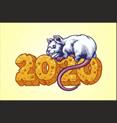 rat with cheese number 2020 vector image