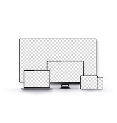 realistic black television screen on a isolated vector image