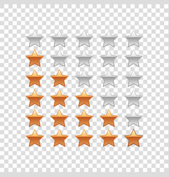 realistic rating stars isolated object vector image