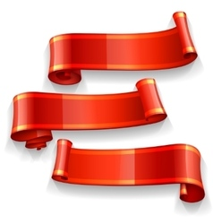 Realistic red ribbons with a yellow stripe vector