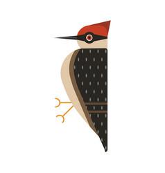 Red head woodpecker bird geometric flat icon vector