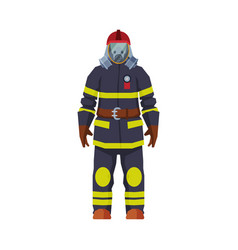 Rescue firefighter fireman character in oxygen vector