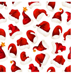 Santa red hats christmas seamless pattern vector