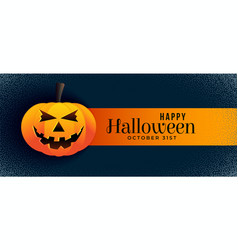 Scary halloween banner with smiling pumpkin vector