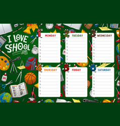 School timetable week schedule classes supplies vector