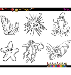 Sea life animals cartoon coloring page vector