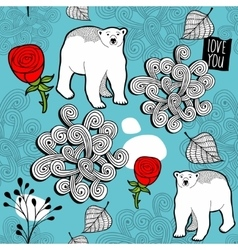 Seamless pattern with red roses and white polar vector