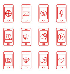 set mobile phone icons in thin line style vector image