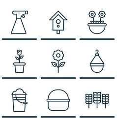 Set of 9 plant icons includes package bucket vector