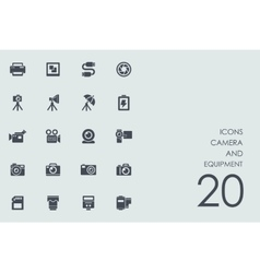 Set of camera and equipment icons vector