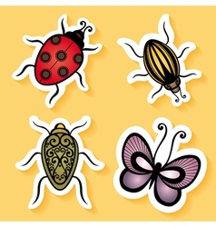 Set of Stickers with Ornamental Insects vector
