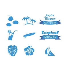 Set of Tropical Icons in flat style vector image